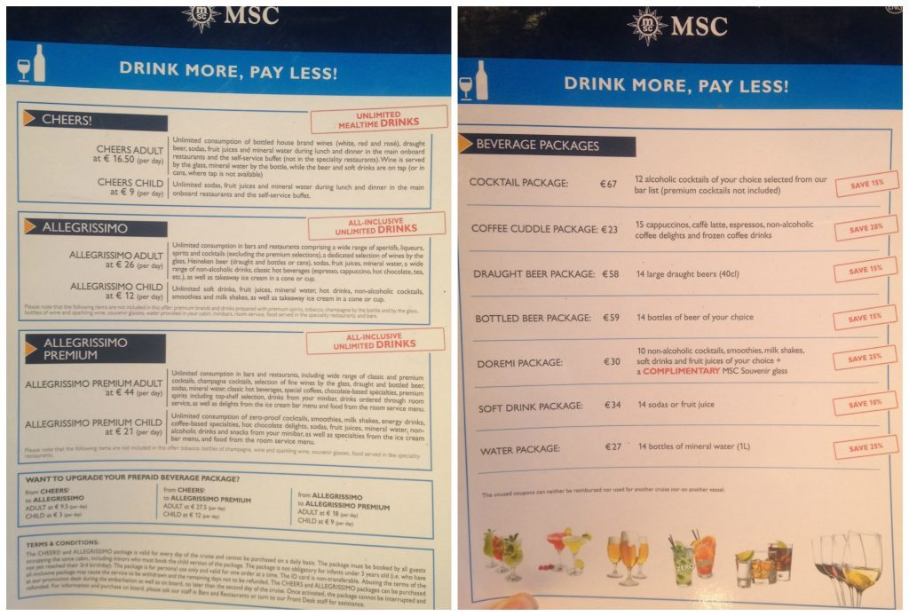 MSC beverage packages on MSC Poesia