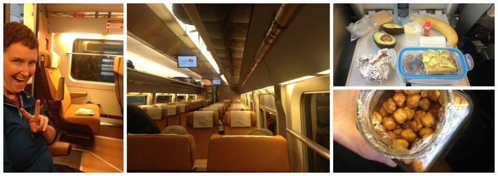 Train travel and Moni's snacks