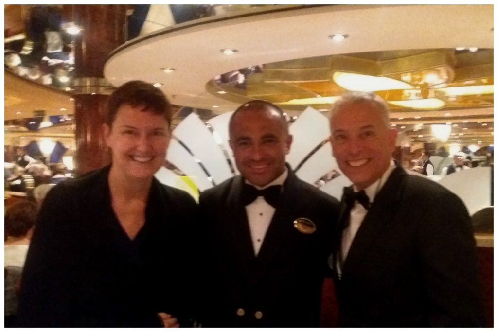 Us with Marlon our waiter from the last cruise with MSC Magnifica