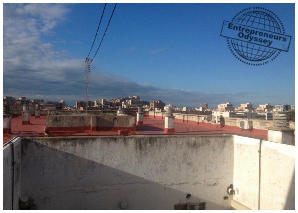 View from the kitchen window towards Santa Bárbara Castle Castell de la Santa Bàrbara