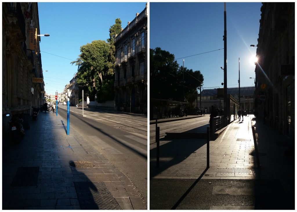 View up and down the road infront of the Appart Hotel Odalys Montpellier