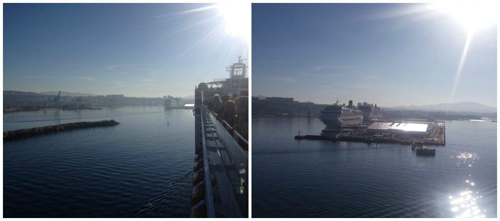 entering the cruise ship port
