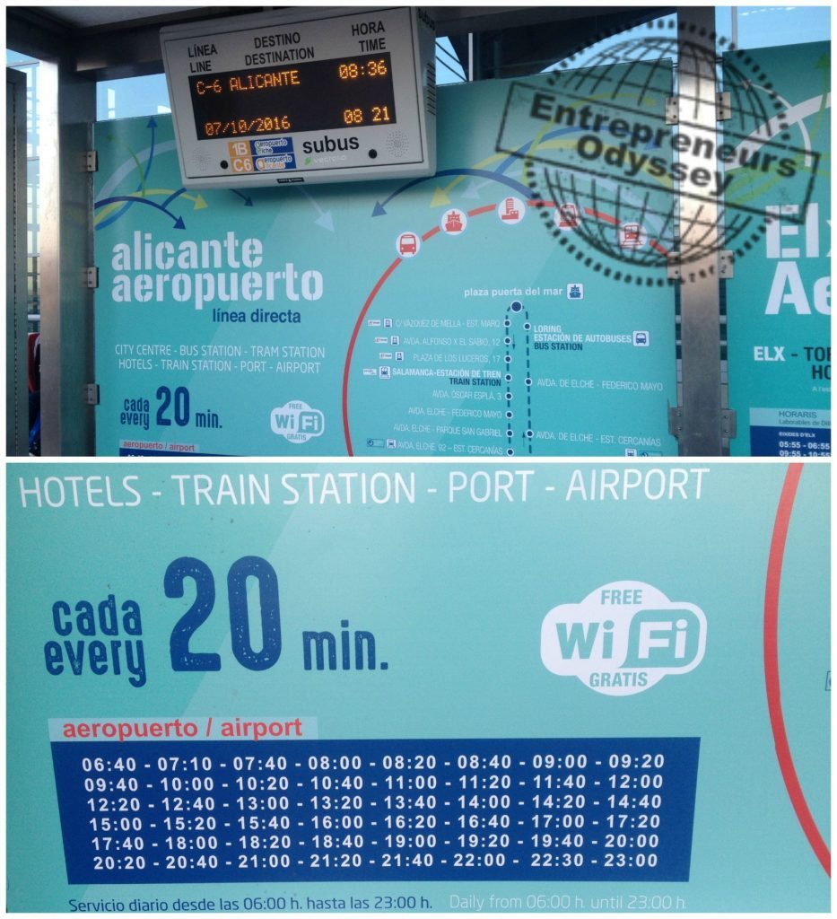 Airport to Alicante city bus stop & timetable