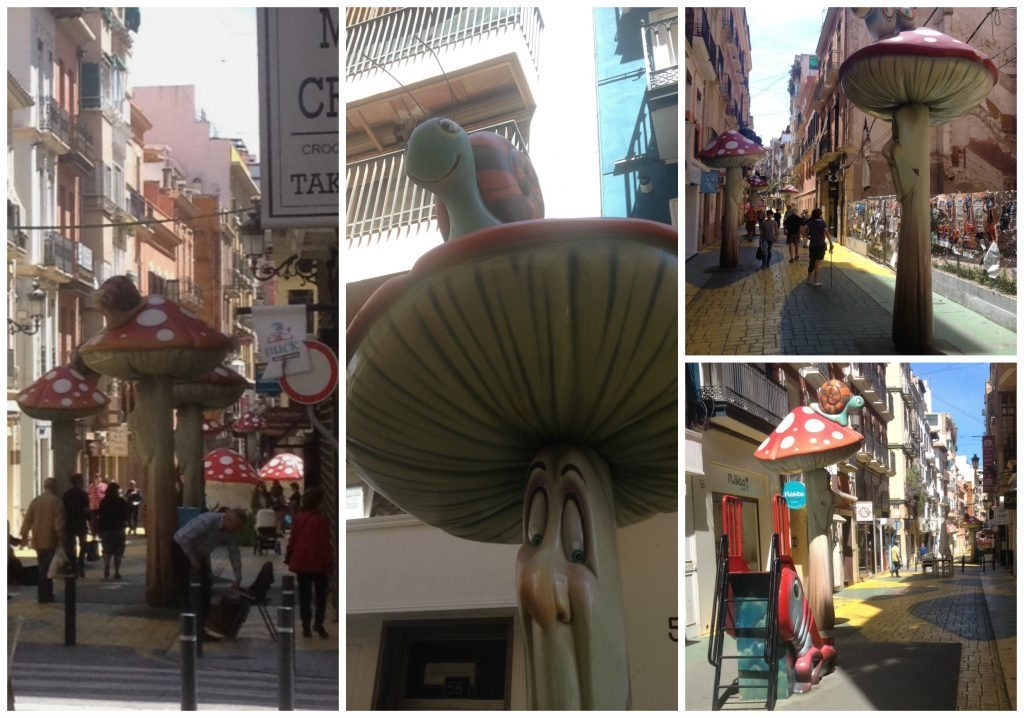 Calle Castaños, a street with mushrooms and slides for kids