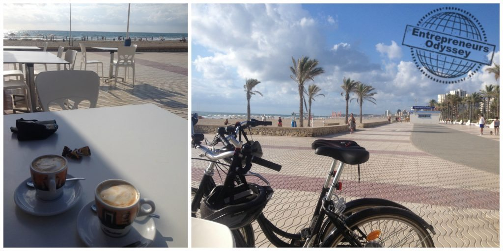 Coffee along the beachfront in San Juan