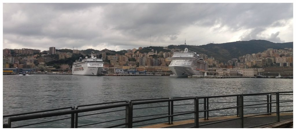Cruise ships in port at Genoa