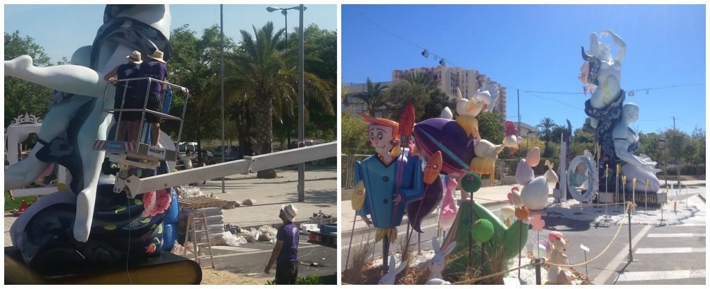 Finishing the build of the Hogueras in Alicante