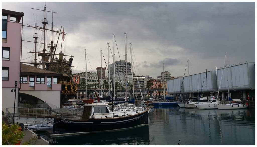 Looking back towards the Neptune Pirate Ship in Genoa Italy