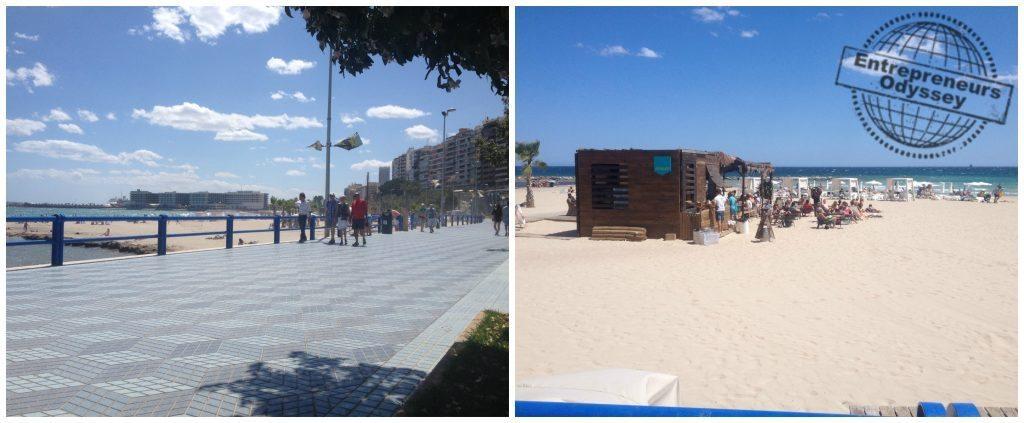 Promenade & beach bar at Postiguet beach Alicante