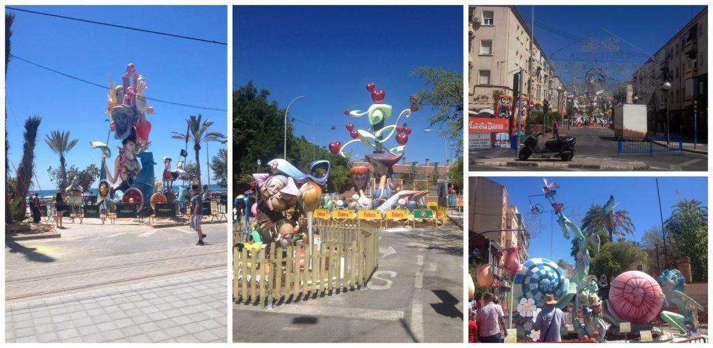 Statues called Hogueras are all over Alicante town