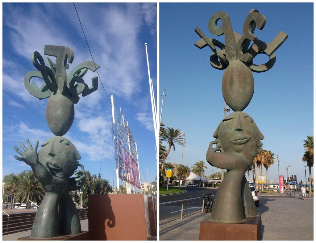 Stone sculpture at the port it Alicante