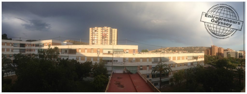 Stormy day with rainbow view from the apartment