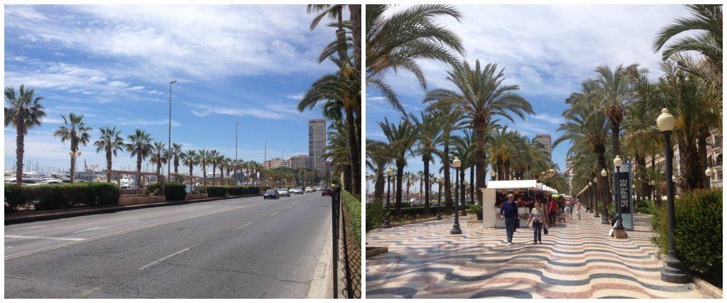 The main road runs alongside of Alicante promenade
