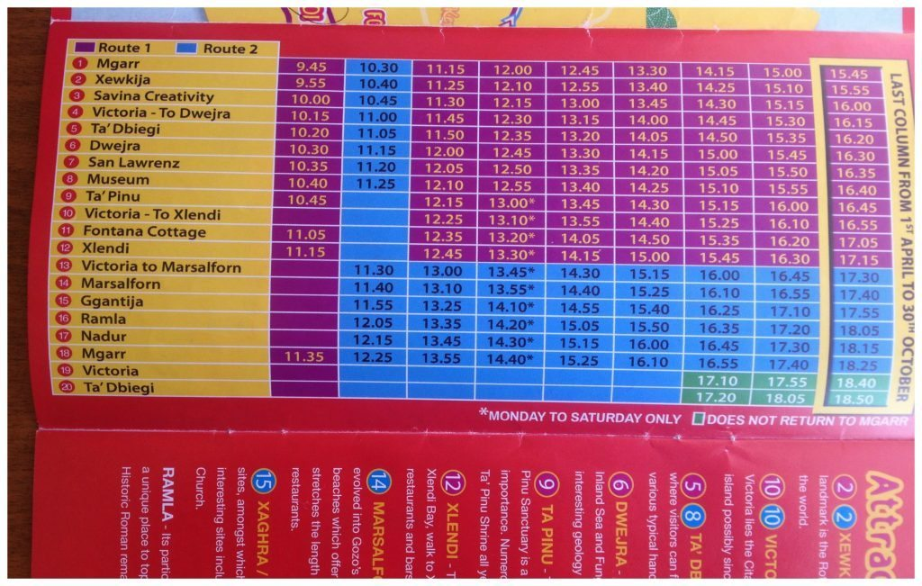 Gozo Hop on Hop off bus timetable
