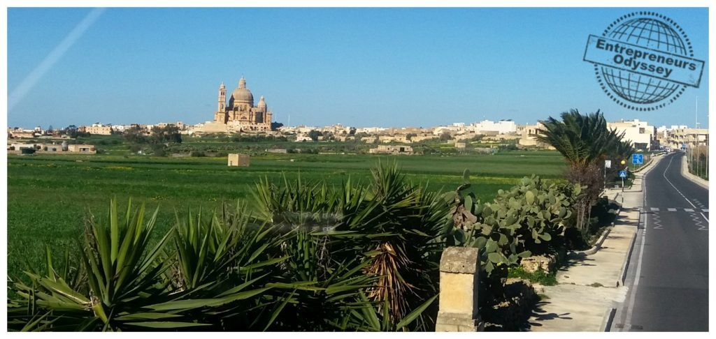 Stunning Gozo views towards the Rotunda of Xewkija from the hop on hop off bus