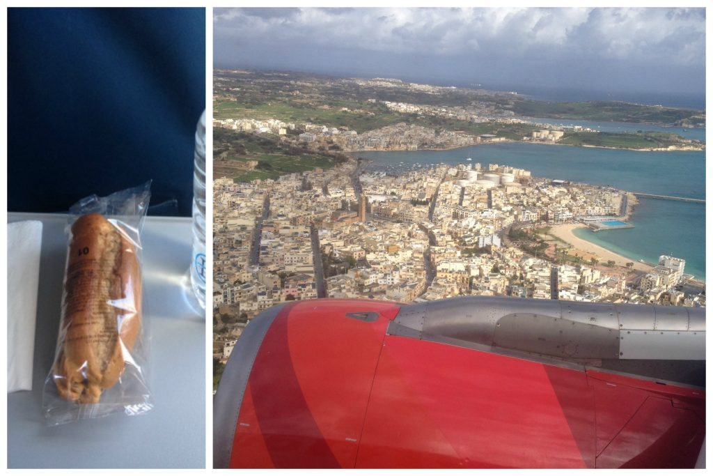 Sandwich on the plane & flying over Malta