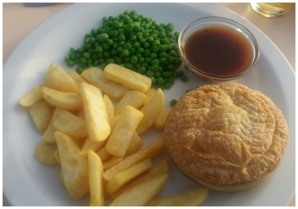 Yummy pie chips peas & gravy