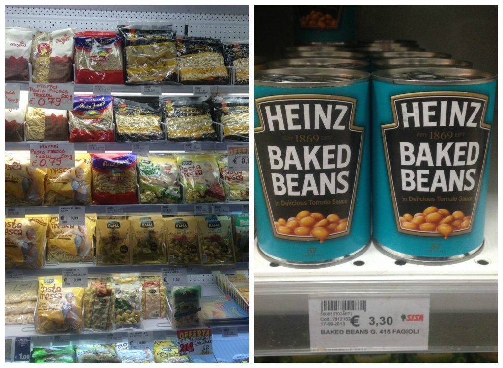 Pasta varieties galore & expensive Heinz baked beans in Formia