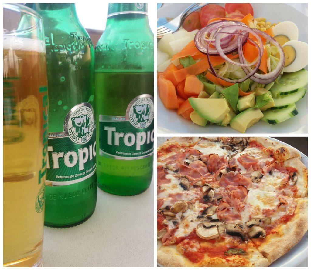 Pizza, salad & beers at Casablanca bar O'sole Mío La Casa Roja