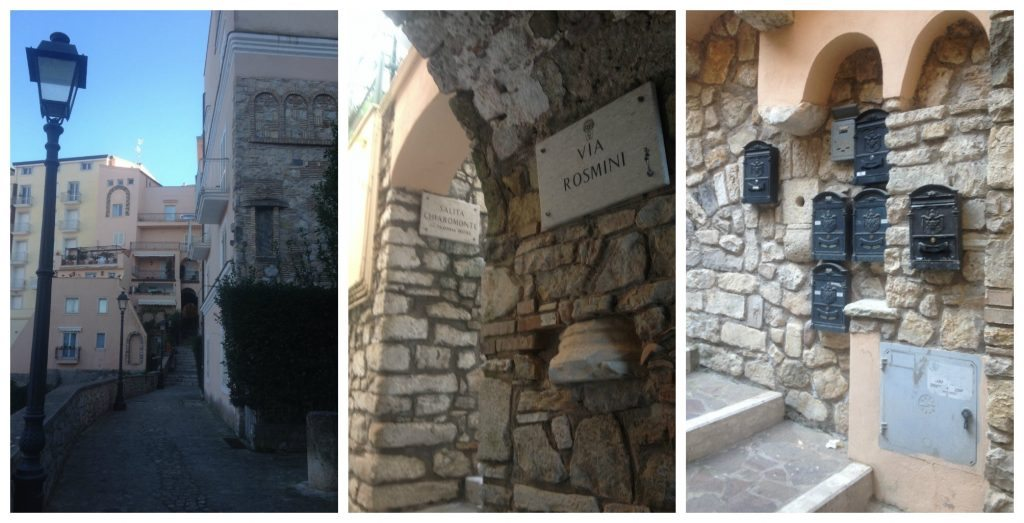 Street names, lamps and post boxes in Gaeta
