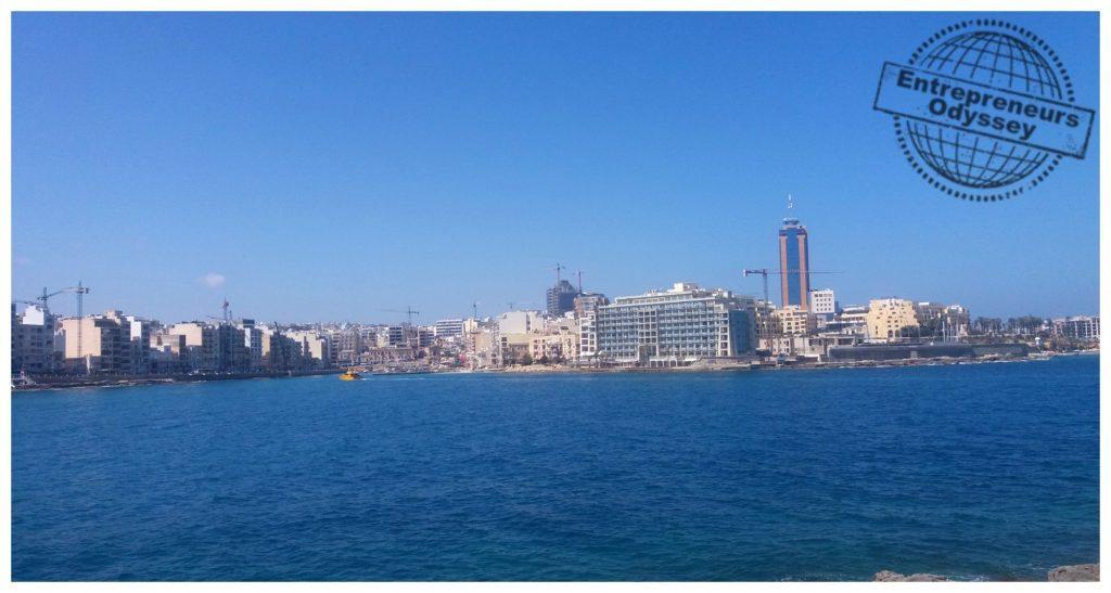 View over St Julian's bay with Portomaso Casino