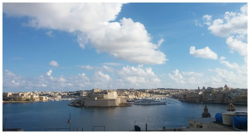 View over to the three cities, Valletta