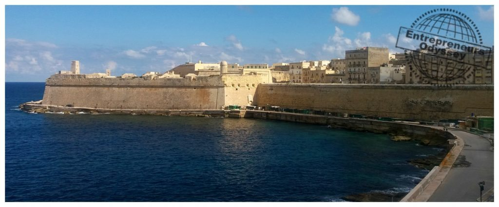 Walking around to Fort St Elmo in Valletta