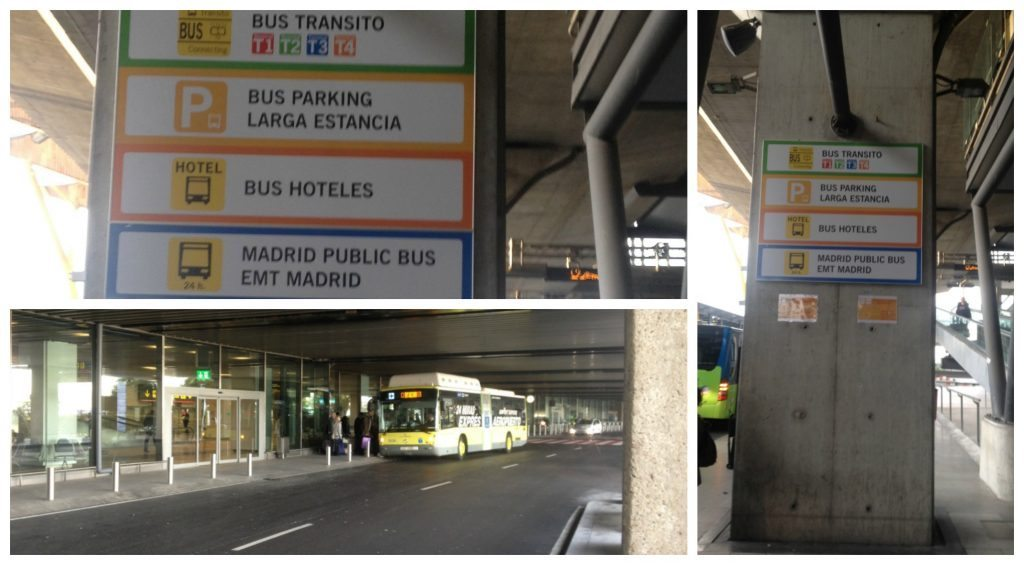 Where to catch the hotel shuttle bus at Madrid airport