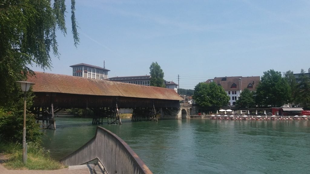 Old Covered Wooden Bridge in Olten
