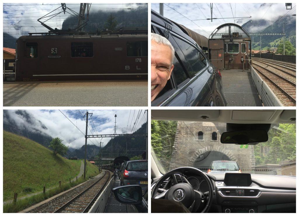 Car transport on the train at Kandersteg