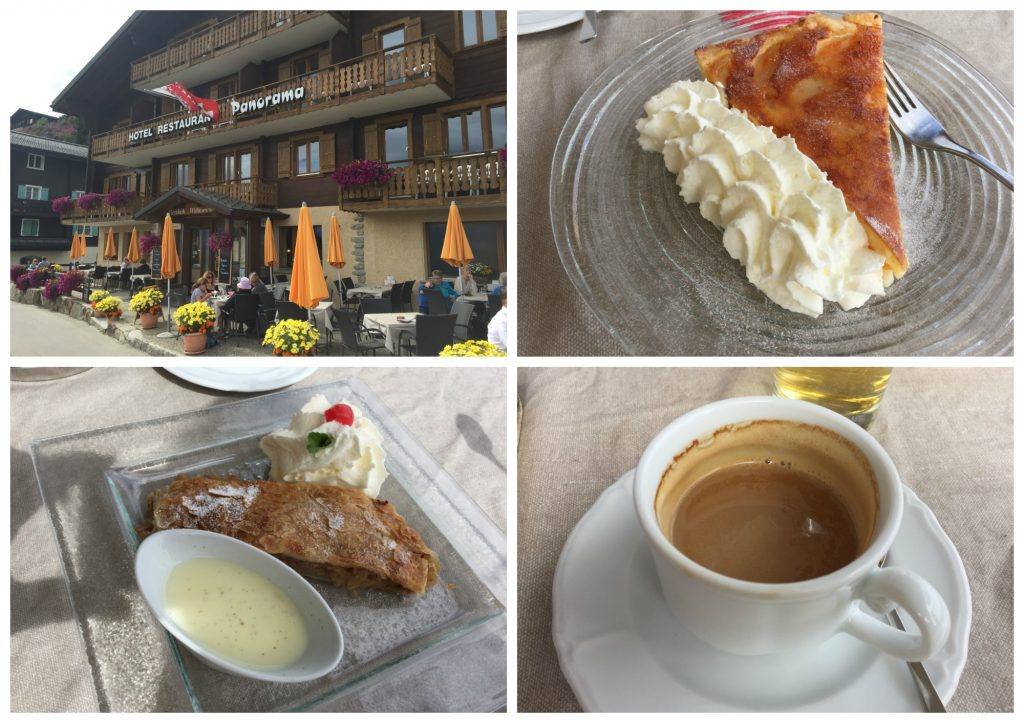 Coffee, Apple Strudel, Apricot Wähe at Hotel Panorama