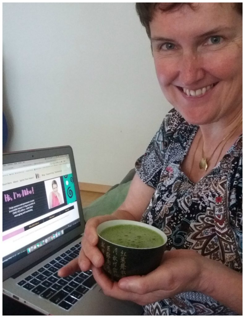 Moni enjoying a matcha tea