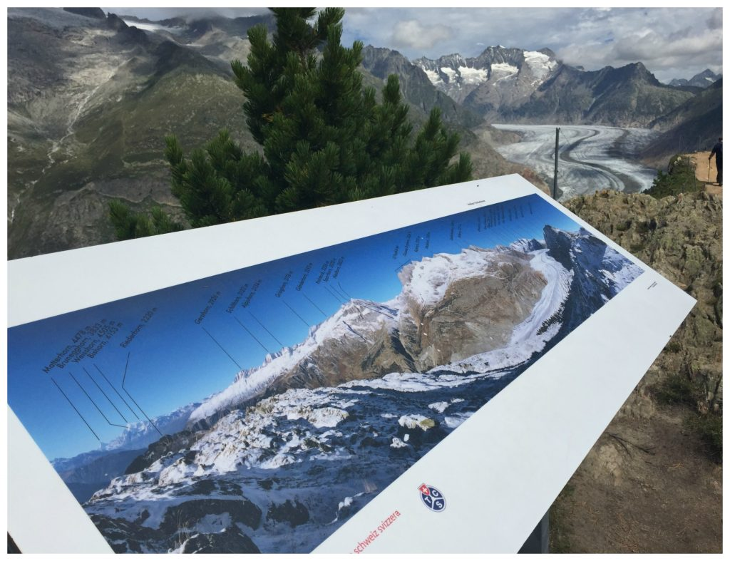 Mountain range display from the Aletsch Glacier