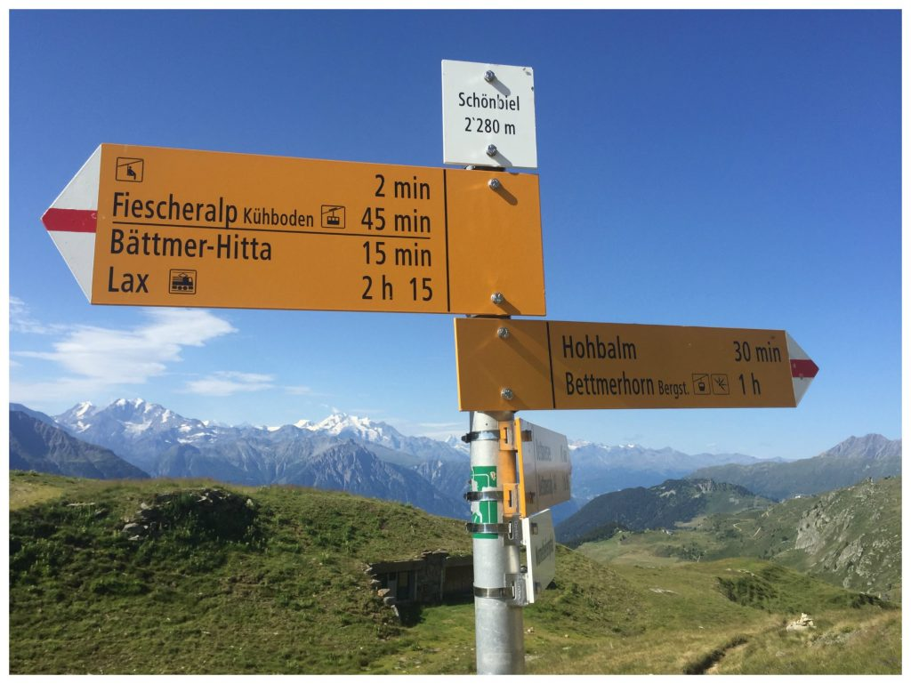 Schönbiel walking route sign @ 2280m
