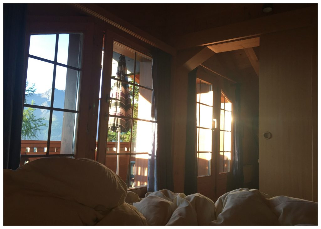 Sun glow from our bedroom in the chalet