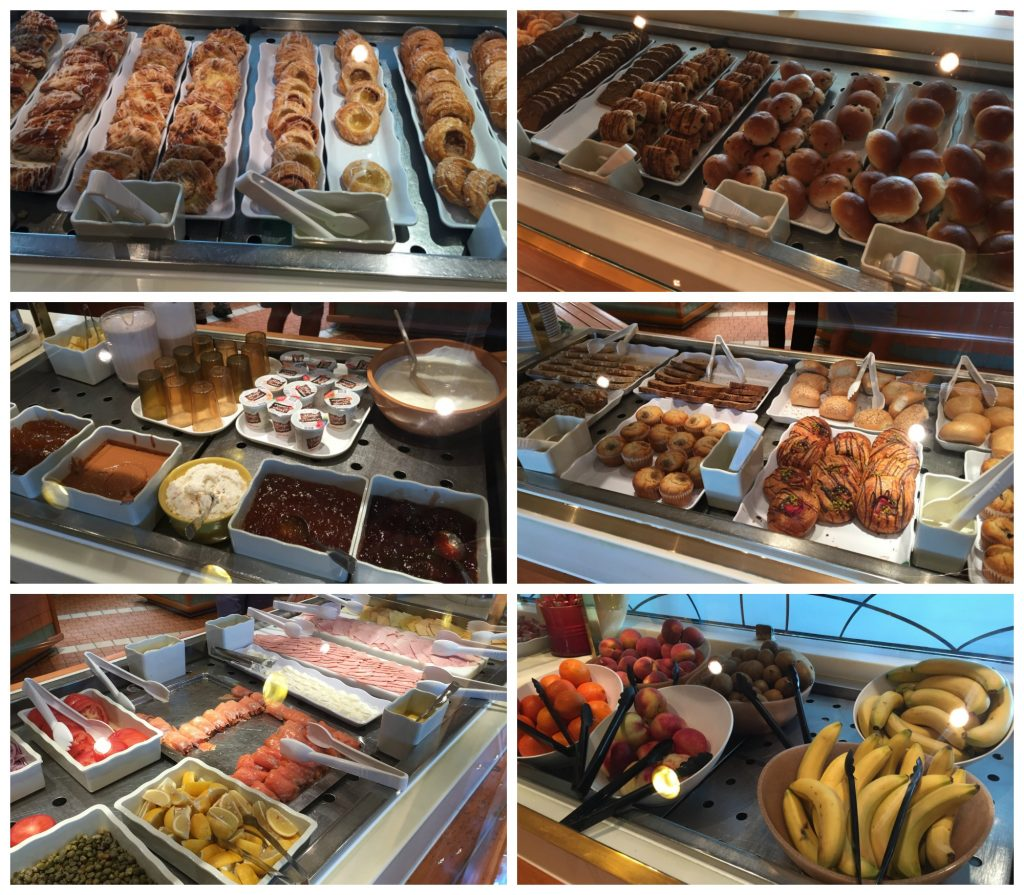Breakfast items from the buffet in Horizon court Crown Princess