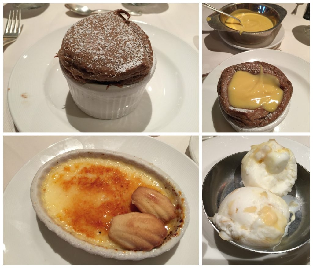 Chocolate soufflé & Crème Brulée on Crown Princess