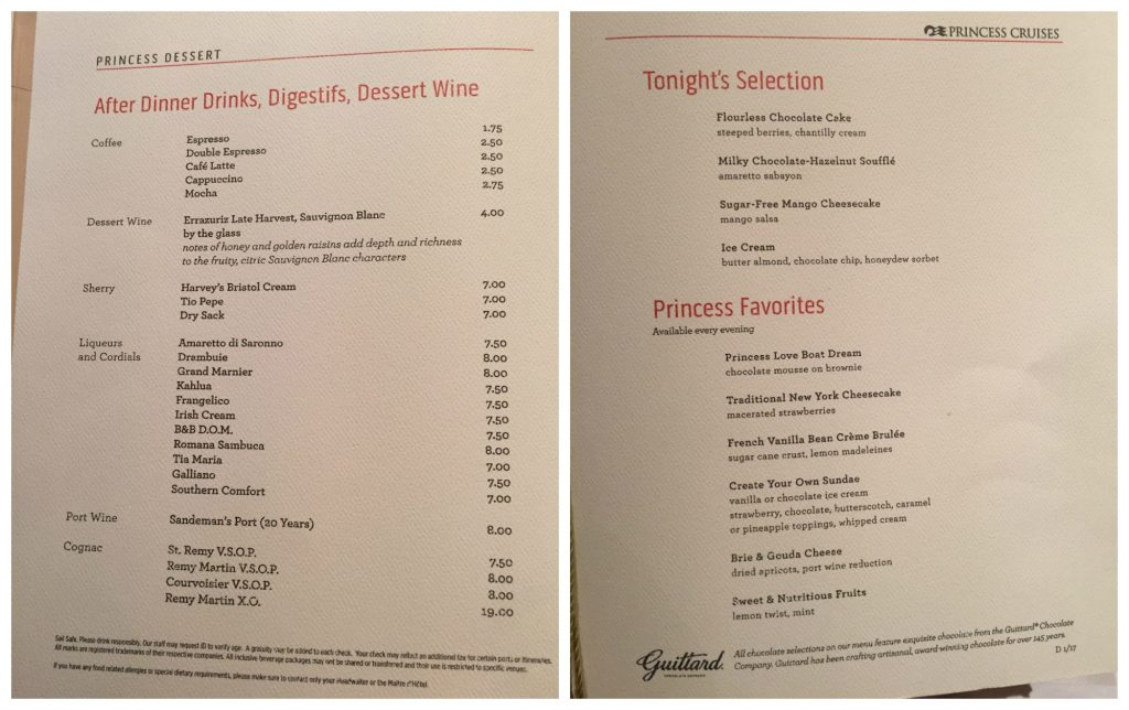 Dessert menu on Crown Princess 2017