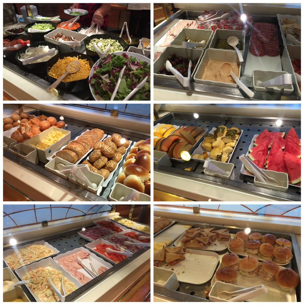 Lunch food items from Horizon court buffet