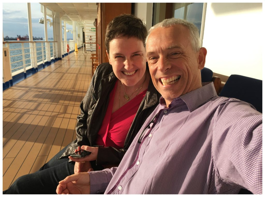On the promenade deck before dinner