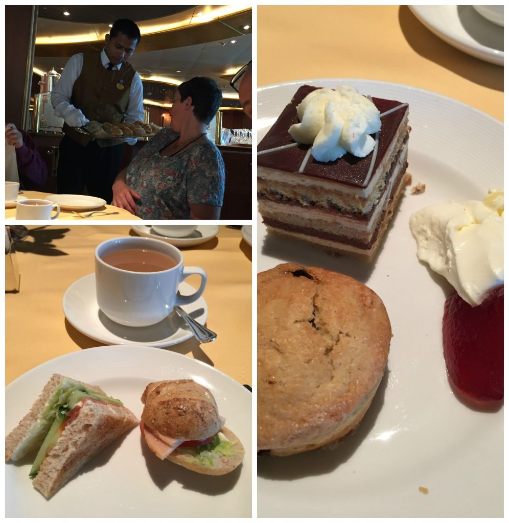 Table service afternoon tea on Crown Princess
