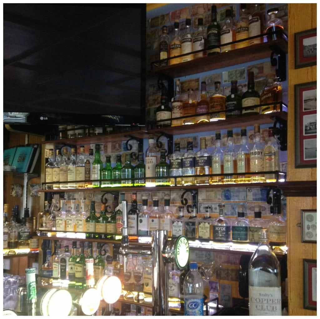 Shelves full of whisky