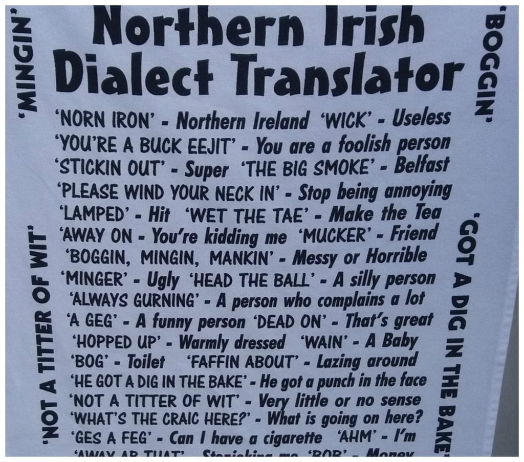 Tea towel with Irish dialect translations