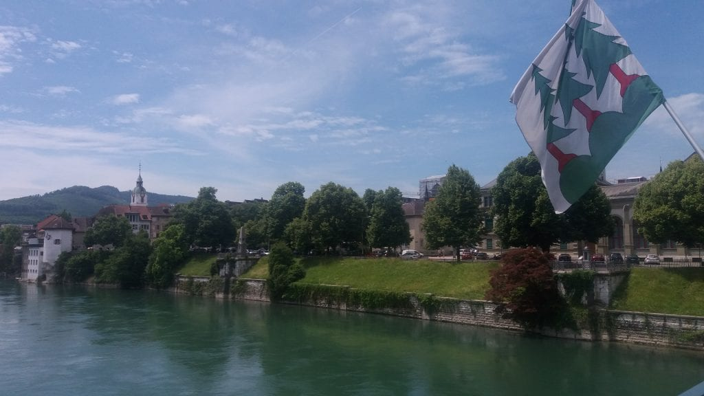View along the river Aare in Olten