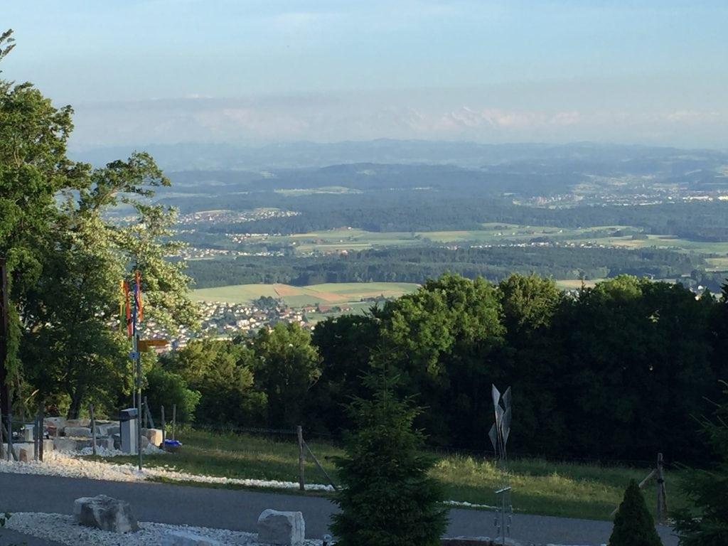 Alps in the distance from restaurant Blüemlismatt