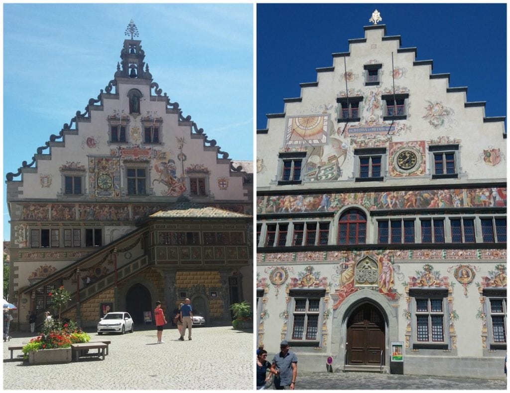 The front and back of the Rathaus (city hall) on Lindau