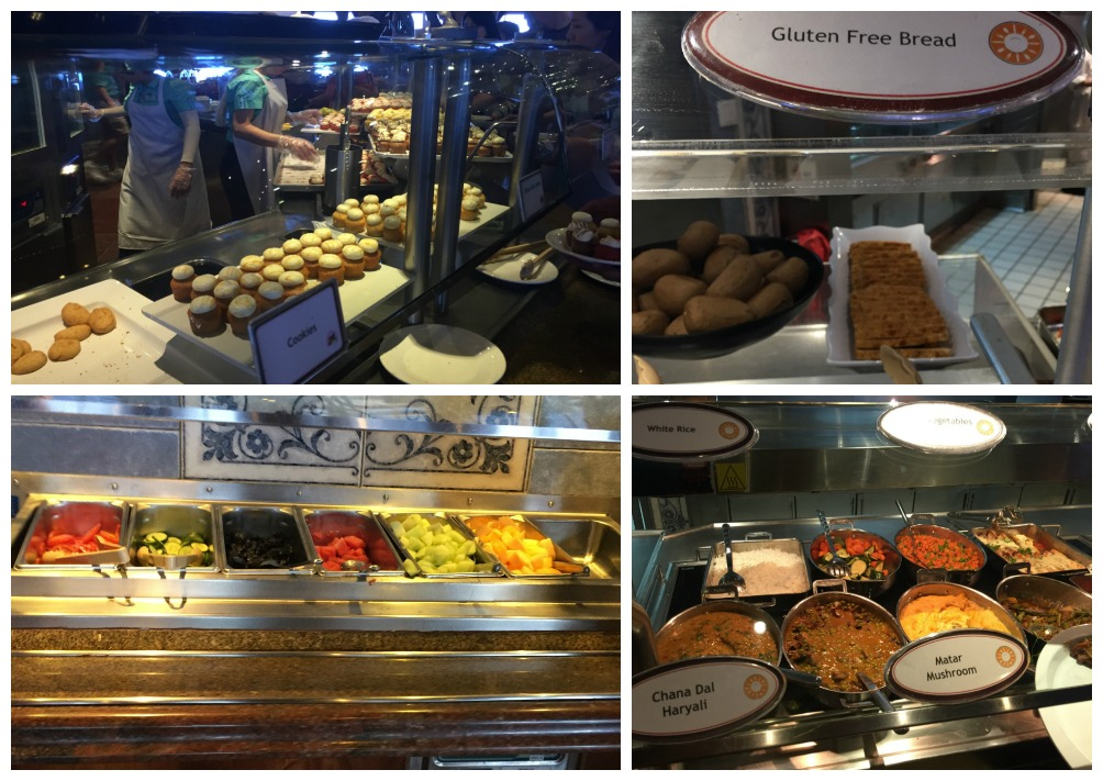 A few food choices at the Lido buffet on Carnival Legend