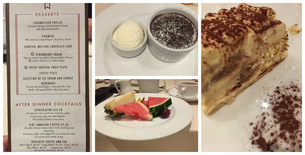 A selection of desserts on Carnival Legend
