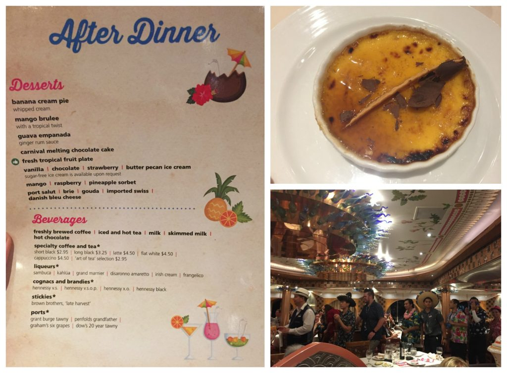 After dinner menu and dancing restaurant staff