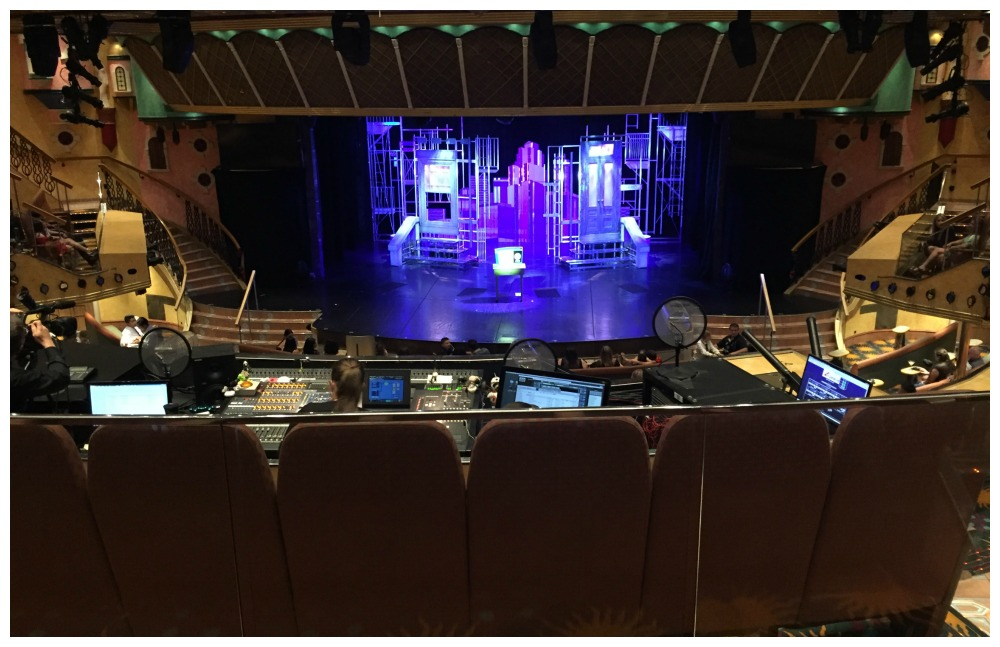 Follies theatre sat behind the sound & light tech place on Carnival Legend